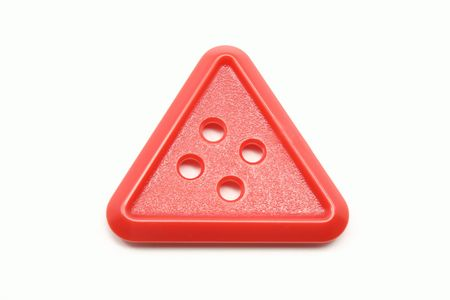 Red Triangle button on an isolated white background.
