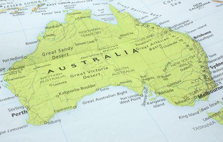 호주 대륙의지도 사진. 스톡 콘텐츠