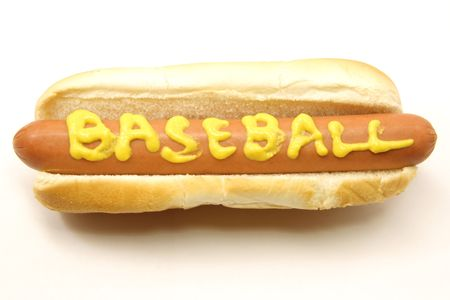 weenie: A Foot Long Hot Dog and Bun with Baseball written on it in mustard. Stock Photo
