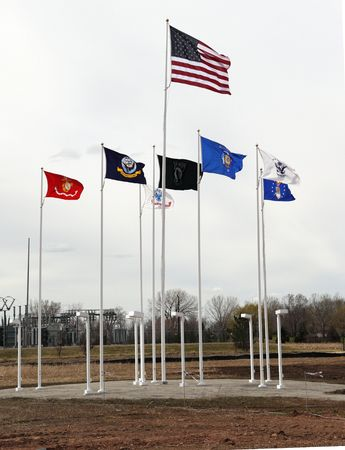 OSHKOSH, WI - APRIL 10: The flags fly at the Fields of Honor Military Veterans Museum.  The museum has just completed phase one of its construction  April 10, 2010 in Oshkosh, Wisconsin.