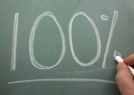 100% is being written by a hand on a black board with chalk. Stock fotó