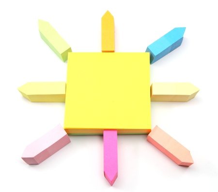 An arrangement of different size and color sticky notes arranged like the sun.  Great to add text to. Stock Photo - 8389624