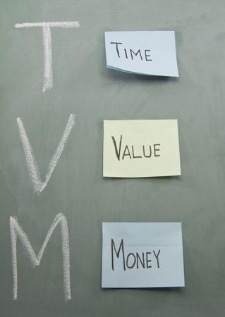 TVM o tiempo dinero valor escrito en una pizarra en tiza y con coloridas notas adhesivas. Foto de archivo - 8544622