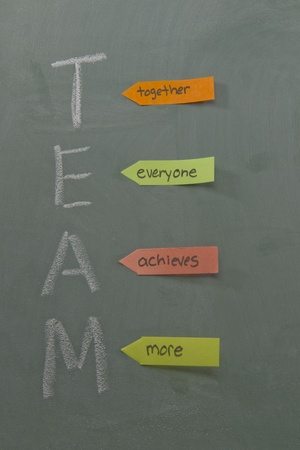 achieves: Team acronym meaning together everyone achieves more written on a blackboard with chalk and colorful sticky notes.