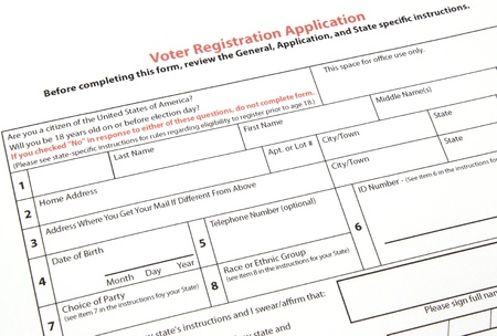 A United States voter registration application ready to be filled out.