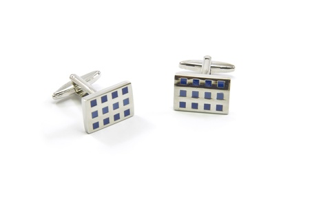 cuff links: Shiny new silver and blue checkered cuff links.