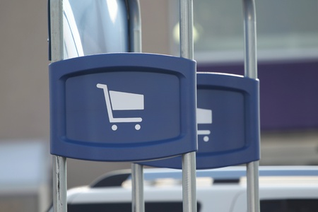 A shopping cart sign showing the stations where they belong. Stock Photo - 8648765