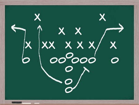 Een voetbalspel diagram op een schoolbord in wit krijt met de formaties en opdrachten.