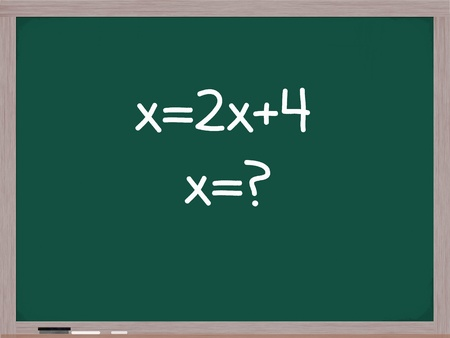 algebra: Algebra equation on a chalk board trying to solve the mathematical problem for x.