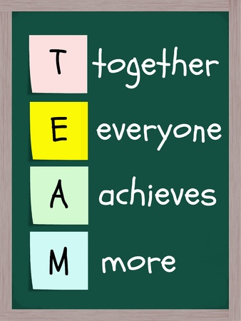 achieves: TEAM, together everyone achieves more concept on colorful sticky notes on a blackboard in white chalk with an eraser.