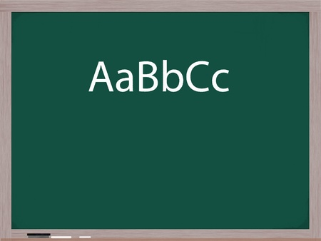 upper case: ABCs in upper and lower case letters written on a blackboard with white chalk and an eraser in the corner.