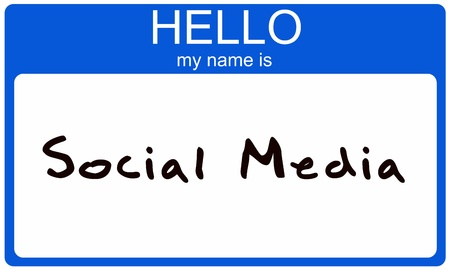 nametag: A blue nametag sticker with the handwriting that says Hello my name is Social Media.
