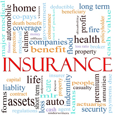 An illustration around the word insurance with lots of different terms such as home, auto, health, life, assets, property, copays, benefits and a lot more. illustration