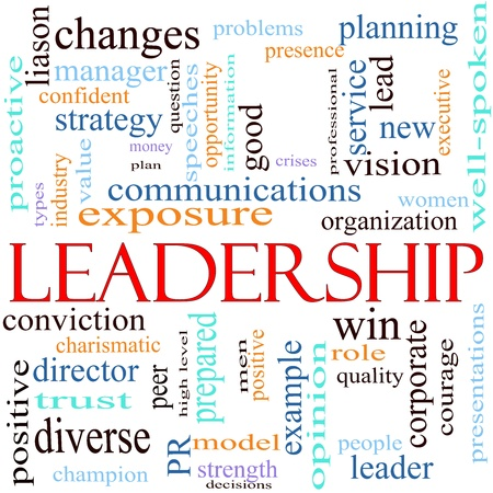 An illustration around the word leadership with lots of different terms such as vision, win, quality, changes, planning, lead, new exposure, strength, peer, well spoken, strategy, opportunity and a lot more. illustration