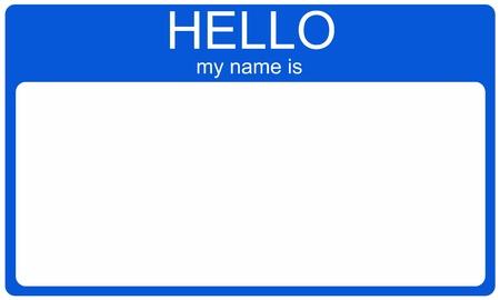 こんにちは私の名前は、単語、名前またはテキストの空白の空の濃いブルー名前タグ。