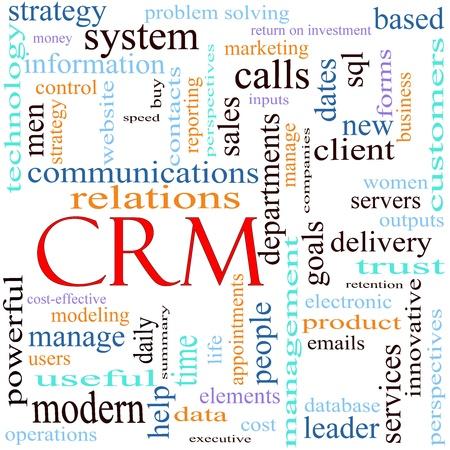 言葉頭字語 CRM クライアントまたは顧客 Relationshiop 管理システム配信、ビジョン、日付、データベース、指導者、サービス、配信、戦略、問題解決、販売、レポート、および多くの詳細などの別の用語の多くが付いて周りイラスト。 写真素材 - 11597685