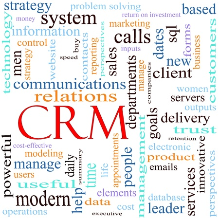 An illustration around the word acronym CRM Client or Customer Relationshiop Management system with lots of different terms such as delivery, vision, dates, database, leader, services, delivery, strategy, problem solving, sales, reporting, and a lot more.