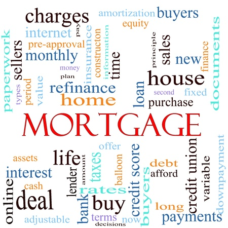 mortgage rates: An illustration around the word mortgage with lots of different terms such as rates, interest, home, refinance, house, charges, loan, purchase, taxes, bank, lender, debt, payments, finance, amortization and a lot more.