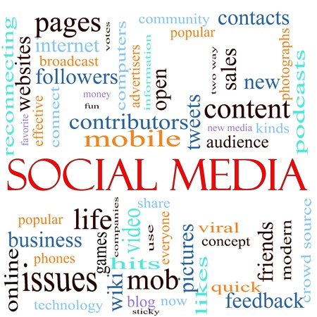 An illustration around the words Social Media with lots of different terms such as websites, contributors, mobile, tweets, pages, community, likes, blog, kinds, feedback, friends and a lot more. Stock Illustration - 11597688