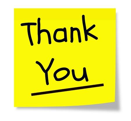 te negro: Una almohadilla cuadrada nota adhesiva de color amarillo con las palabras de agradecimiento escrita en negro.