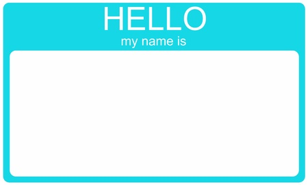 A blank aqua blue name tag with the words Hello My Name is and white space for your name or text. photo