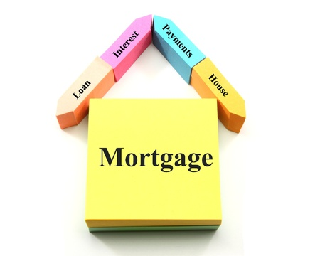 A colorful mortgage concept house made out of different shaped sticky notes with the words loan, interest, payments, house.