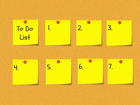 pin board: A To Do List on a peg bulletin board with yellow sticky notes and red push pins.