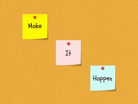 The words Make It Happen on colorful sticky notes on a cork bulletin board wth red push pins. Stock Photo - 11597702