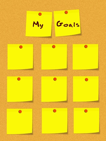 corkboard: My Goals written on yellow sticky notes with blank ones for goals on a cork bulletin board with red push pins.