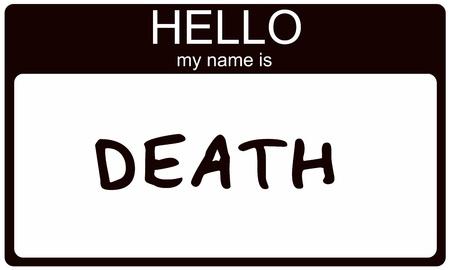 単語こんにちはと黒いステッカー名札私の名前は偉大なコンセプトのイメージを作る死です。