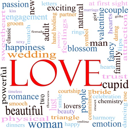 An illustration around the word Love with lots of different terms such as sweetheart, happiness, wedding, adult, sexy, engagement, kiss, beauty, cupid, blossome, valentine and a lot more.