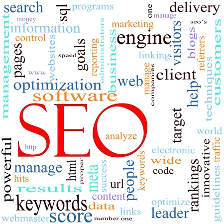 An illustration around the word  acronym SEO with lots of different terms such as search, engine, optimization, client, web, target, rankings, traffic, visitors and a lot more. Imagens