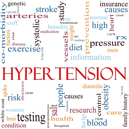 An illustration around the word Hypertension with lots of different terms such as high, blood, pressure, diet, cause, control, systolic, diastolic and a lot more. illustration