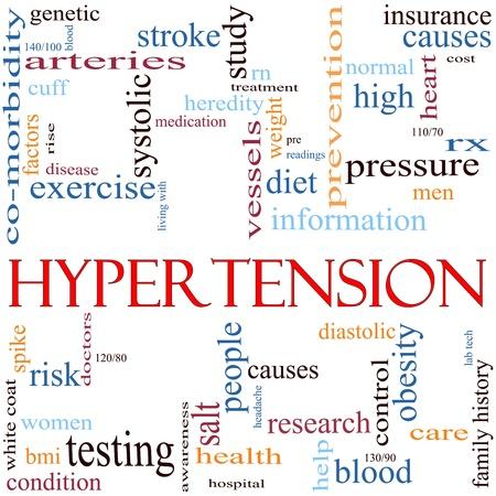 hipertension: Una ilustración en torno a la hipertensión palabra con un montón de términos diferentes, tales como alta, la sangre, la presión, la dieta, la causa, el control, sistólica, diastólica y mucho más. Foto de archivo