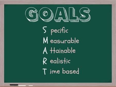 pertinente: Una pizarra con los objetivos de la palabra y las siglas m�s inteligente de pie a proyectos espec�ficos, medibles, alcanzables y realista, sobre la base. Foto de archivo