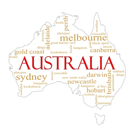 A map of Australia with different Australian terms around it such as Melbourne, Canberra, kangaroo, aborigines, Darwin and a lot more.