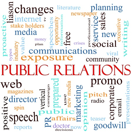 An illustration around the words Public Relations with lots of different terms such as communications, web, community, social, viral, media and a lot more. Stockfoto