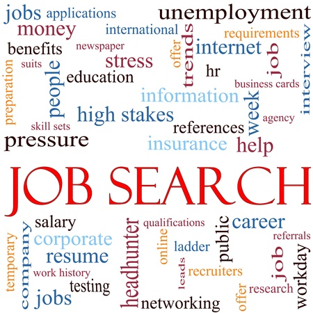 An illustration around the words Job Search with lots of different terms such as unemployment, headhunter, networking, job and a lot more.