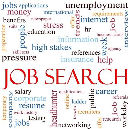 Een illustratie over de woorden zoeken met veel verschillende termen zoals werkloosheid, headhunter, netwerken, werk en nog veel meer.