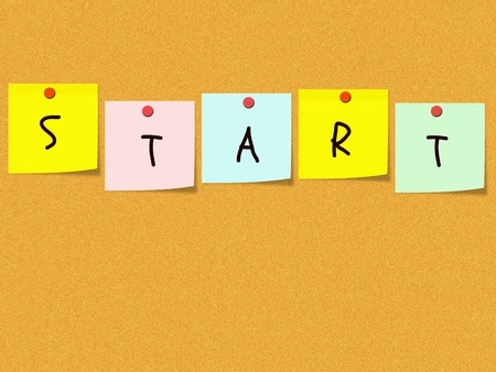 pin board: Colorful square sticky notes spell out the word start on a cork bulletin board.