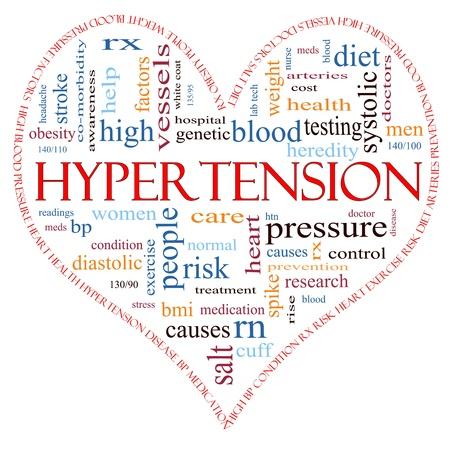 Een hartvormig woord wolk concept rond het woord Hypertensie met woorden zoals lezen, controle, dokter, rx en nog veel meer. Stockfoto