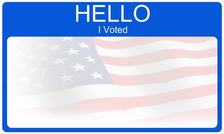 electing: A blue red and white Hello I Voted name tag type sticker making a great voting or election concept.
