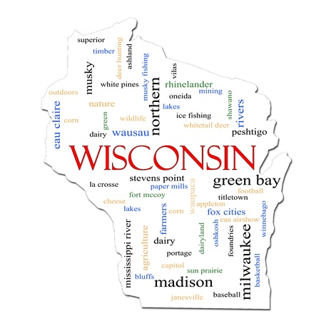 mississippi river: A Wisconsin map word cloud with great terms such as Green Bay, football, Milwaukee, Madison, baseball, musky, cheese and more.