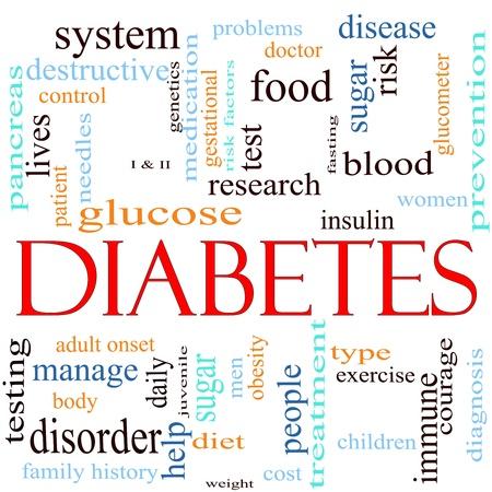 포도당, pancrease, 혈액, 인슐린 등과 같은 단어를 포함하는 단어 당뇨병 주변의 단어 clould 개념. 스톡 콘텐츠