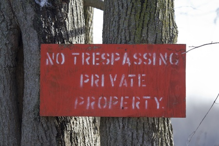 trespass: A wooden home made No Trespassing Private Property Red Sign nailed to a clump of trees with white letters.