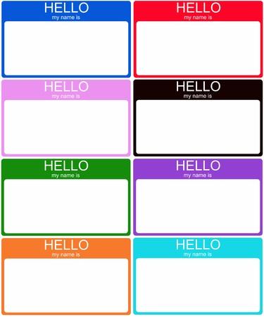 rosa negra: Un conjunto de ocho colores Hola mi nombre es pegatinas etiqueta con su nombre en azul, rojo, rosa, negro, verde, morado, naranja y aguamarina.