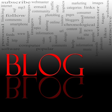 keywords link: A word cloud concept for the word Blog written in red with a reflection against black and great concept words in the background such as internet, help, computer and more.