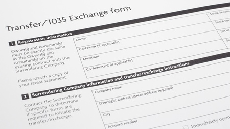 An annuity or investment Section 1035 Exchange Paper Form waiting to be filled out.