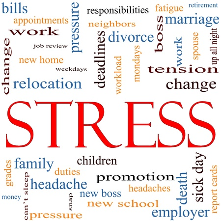 A word cloud concept around the word Stress with great terms such as pressure, deadlines, family, duties, tension, change and more. Stock Photo - 11968610