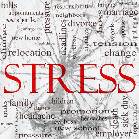 A word cloud concept around the word Stress with a shattered glass background with great terms such as pressure, deadlines, family, change and more. Banque d'images